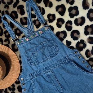 90's VTG Overalls with Floral Embroidery
